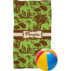 Green & Brown Toile Beach Towel (Personalized)