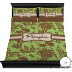 Green & Brown Toile Duvet Cover Set (Personalized)