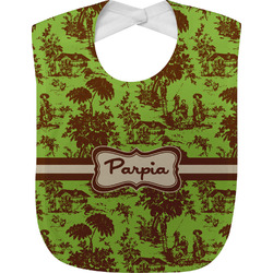 Green & Brown Toile Baby Bib (Personalized)