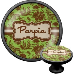 Green & Brown Toile Cabinet Knob (Black) (Personalized)