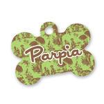 Green & Brown Toile Bone Shaped Dog ID Tag (Personalized)