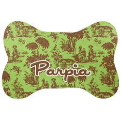 Green & Brown Toile Bone Shaped Dog Food Mat (Personalized)