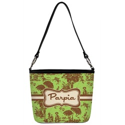 Green & Brown Toile Bucket Bag w/ Genuine Leather Trim (Personalized)