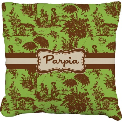 Green & Brown Toile Faux-Linen Throw Pillow (Personalized)