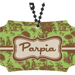 Green & Brown Toile Rear View Mirror Ornament (Personalized)