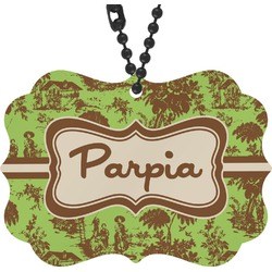 Green & Brown Toile Rear View Mirror Decor (Personalized)