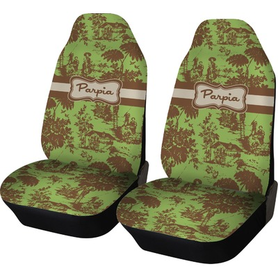 Green & Brown Toile Car Seat Covers (Set of Two) (Personalized)
