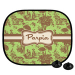 Green & Brown Toile Car Side Window Sun Shade (Personalized)
