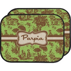 Green & Brown Toile Car Floor Mats (Back Seat) (Personalized)