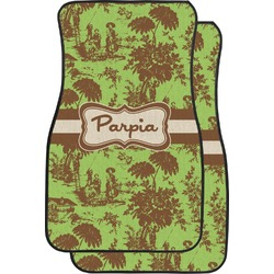 Green & Brown Toile Car Floor Mats (Front Seat) (Personalized)