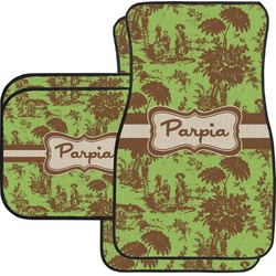 Green & Brown Toile Car Floor Mats Set - 2 Front & 2 Back (Personalized)