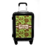 Green & Brown Toile Carry On Hard Shell Suitcase (Personalized)