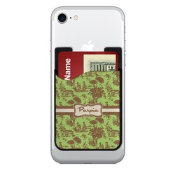 Green & Brown Toile Cell Phone Credit Card Holder (Personalized)