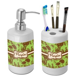 Green & Brown Toile Bathroom Accessories Set (Ceramic) (Personalized)