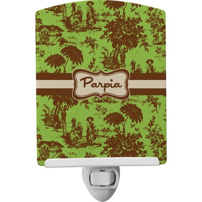 Green & Brown Toile Ceramic Night Light (Personalized)