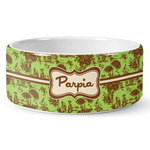 Green & Brown Toile Ceramic Dog Bowl (Personalized)