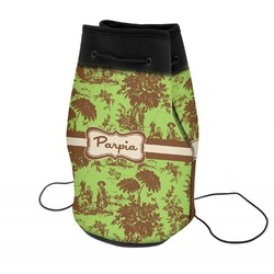 Green & Brown Toile Neoprene Drawstring Backpack (Personalized)