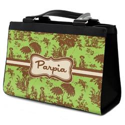 Green & Brown Toile Classic Tote Purse w/ Leather Trim (Personalized)