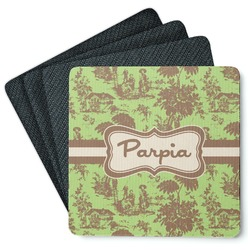 Green & Brown Toile 4 Square Coasters - Rubber Backed (Personalized)
