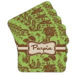Green & Brown Toile Cork Coaster - Set of 4 w/ Name or Text