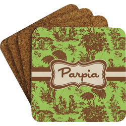 Green & Brown Toile Coaster Set (Personalized)