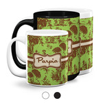 Green & Brown Toile Coffee Mugs (Personalized)