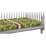 Green & Brown Toile Crib Fitted Sheet (Personalized)