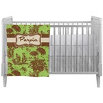 Green & Brown Toile Crib Comforter / Quilt (Personalized)