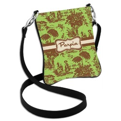 Green & Brown Toile Cross Body Bag - 2 Sizes (Personalized)