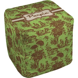 Green & Brown Toile Cube Pouf Ottoman (Personalized)