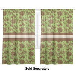 "Green & Brown Toile Curtains - 20""x84"" Panels - Lined (2 Panels Per Set) (Personalized)"