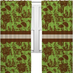 Green & Brown Toile Curtains (2 Panels Per Set) (Personalized)