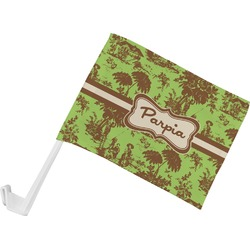 Green & Brown Toile Car Flag (Personalized)