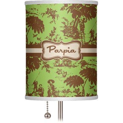 """Green & Brown Toile 7"""" Drum Lamp Shade (Personalized)"""