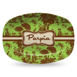 Green & Brown Toile Plastic Platter - Microwave & Oven Safe Composite Polymer (Personalized)