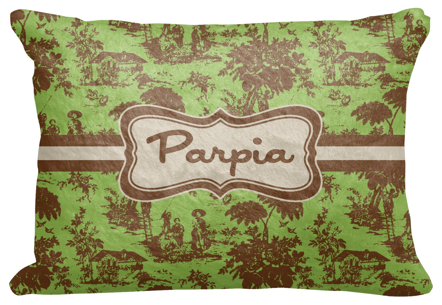 green brown toile decorative baby pillowcase 16 x12. Black Bedroom Furniture Sets. Home Design Ideas