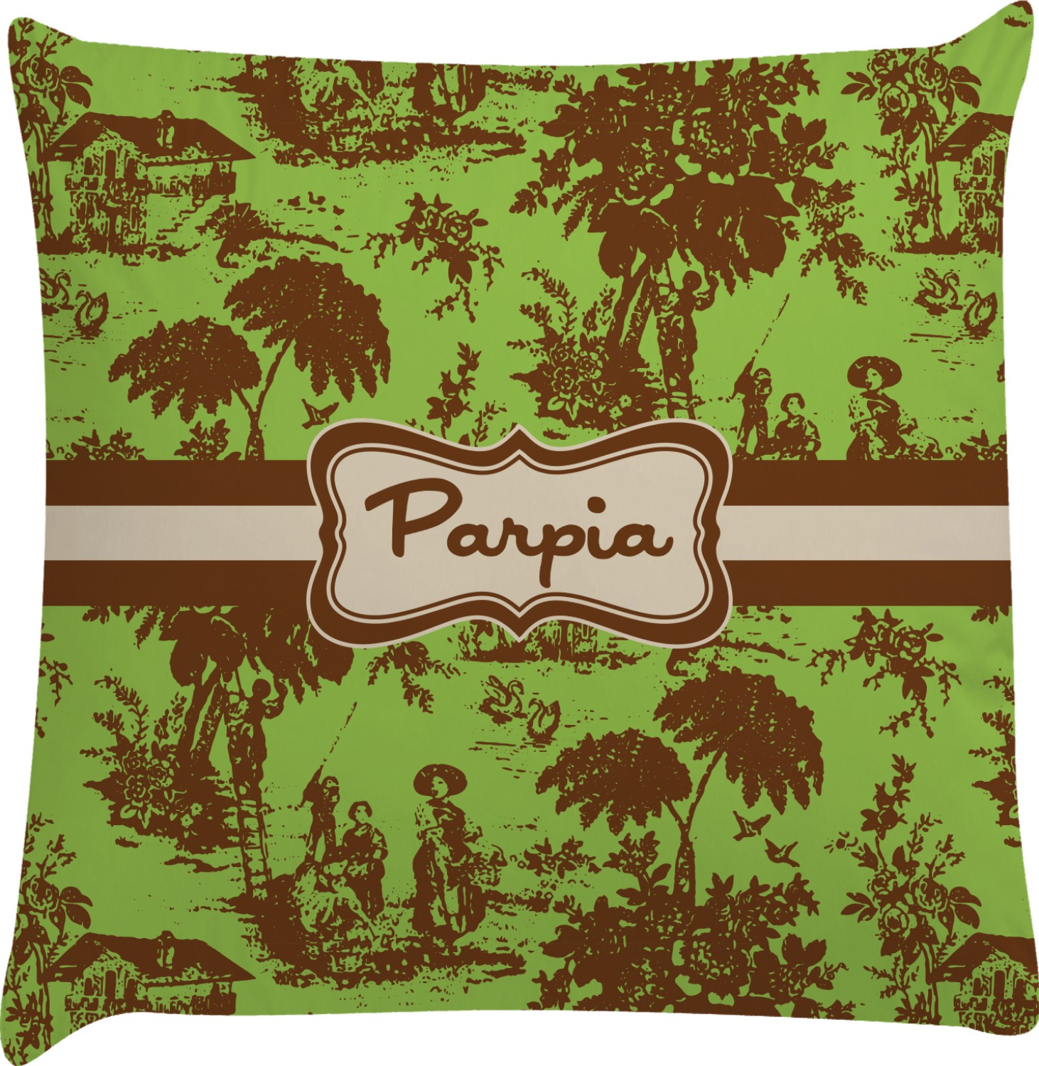 green brown toile decorative pillow case personalized. Black Bedroom Furniture Sets. Home Design Ideas