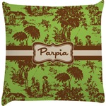Green & Brown Toile Decorative Pillow Case (Personalized)