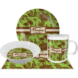 Green & Brown Toile Dinner Set - 4 Pc (Personalized)