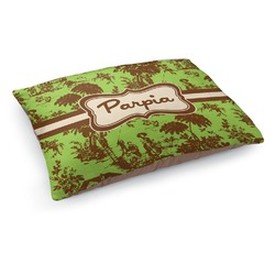 Green & Brown Toile Dog Pillow Bed (Personalized)