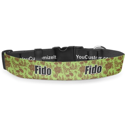 Green & Brown Toile Deluxe Dog Collar (Personalized)