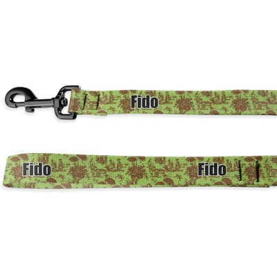 Green & Brown Toile Deluxe Dog Leash (Personalized)