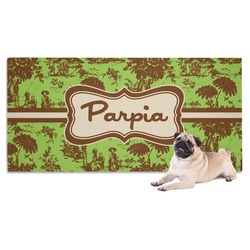 Green & Brown Toile Pet Towel (Personalized)
