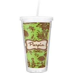 Green & Brown Toile Double Wall Tumbler with Straw (Personalized)