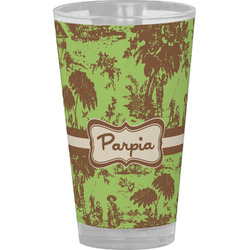 Green & Brown Toile Drinking / Pint Glass (Personalized)