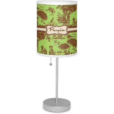 """Green & Brown Toile 7"""" Drum Lamp with Shade (Personalized)"""