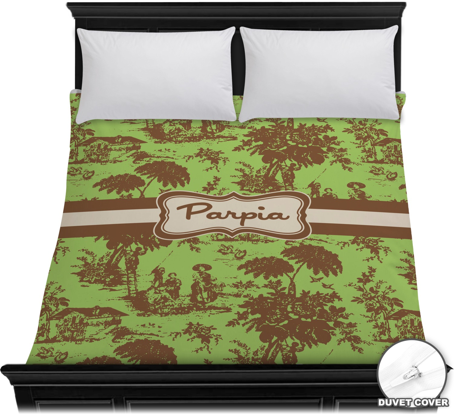 green brown toile duvet cover full queen personalized youcustomizeit. Black Bedroom Furniture Sets. Home Design Ideas