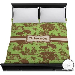 Green & Brown Toile Duvet Cover (Personalized)