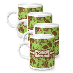 Green & Brown Toile Espresso Mugs - Set of 4 (Personalized)