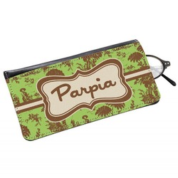 Green & Brown Toile Genuine Leather Eyeglass Case (Personalized)